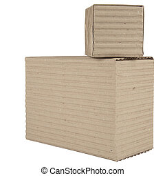 two corrugated cardboard packages - two cardboard boxes...