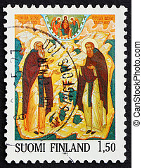 Postage stamp Finland 1985 St Sergei and St Herman of Valaam...