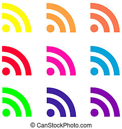 Fluorescent RSSl Icons - 12 fluorescent RSS icons