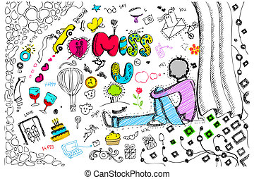 Miss You Card - illustration of miss you card in colorful...