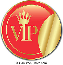 golden Sticker VIP. Vector - golden Sticker VIP illustration