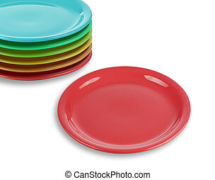 stack of colorful plates with empty red one