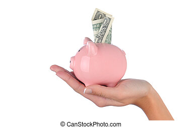 Woman holding Piggy Band with Dollar