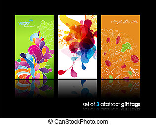 Set of abstract colorful splash and flower gift cards with...