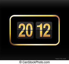 Flip clock with 2012 year.