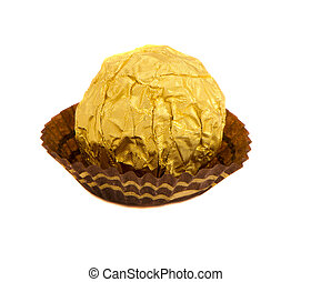 Candy isolated round sweet wrapped gold foil