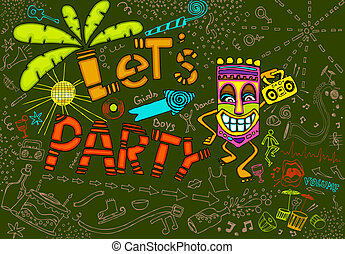 Tiki Party - illustration of colorful tiki party card in...