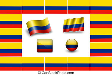 Flag of Colombia.  icon set. flags frame.