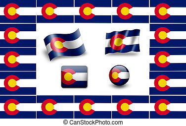 Flag of Colorado.  icon set. flags frame.