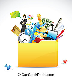 Business Folder - illustration of office stationery with...