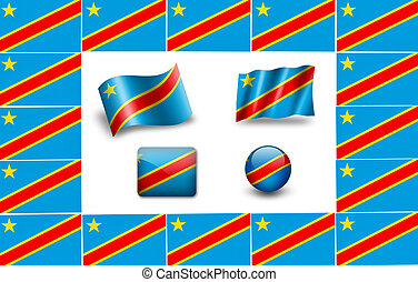 flag of Congo.  icon set. flags frame.