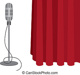 Microphone - Grey microphone on a stand with red curtain