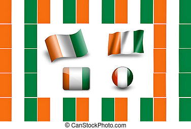 Flag of Cote dIvoire icon set flags frame