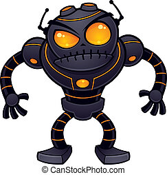 Angry Robot - Vector cartoon illustration of an angry robot...