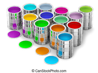 colorful paints in the cans for painting walls in new house