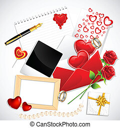 Love Stuff - illustration of love card with hearts and roses