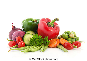 Fresh vegetables - Still life with fresh vegetables isolated...