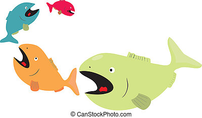 Big fish eat little fish  - Vector graphic of fishes