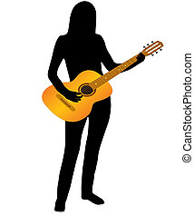 The Musician and guitar. - The Silhouette of the musician on...