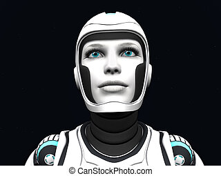 Android woman gazing. - The face of an android woman, gazing...