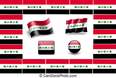 flag of Iraq icon set