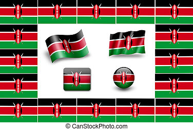 Flag of Kenya.  icon set. flags frame.