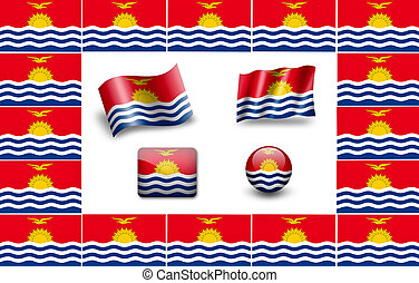 Flag of Kiribati. icon set. flags frame.