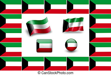Flag of Kuwait. icon set. flags frame.