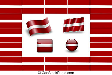 Flag of Latvia. icon set. flags frame.