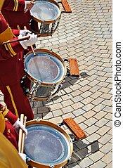 gente, juego, tambores