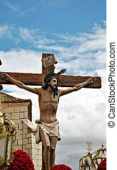 Jesus Christ on the cross during a procession of Holy Week...