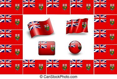 flag of Manitoba. icon set. flags frame