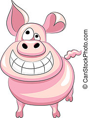Vector funny cartoon happy pig - funny cartoon happy pig...