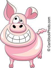 vetorial, ENGRAÇADO, caricatura, Feliz, porca