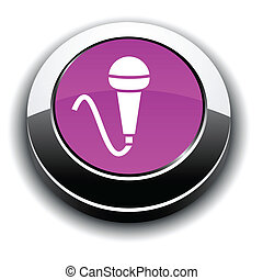 Mic 3d round button. - Mic metallic 3d vibrant round icon.