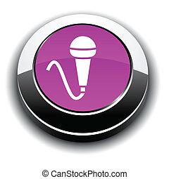 Mic 3d round button. - Mic metallic 3d vibrant round icon.