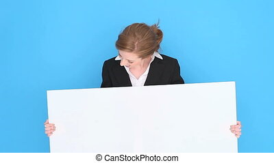 Happy Businesswoman Holding Sign
