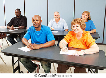 Diverse Happy Adult Education Class - Diverse adult...