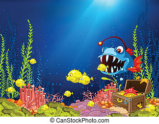 Ocean Underwater Cartoon Coral Reef with Alga and Fish...