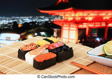 delicious Japanese sushi mix with beautiful japan night...