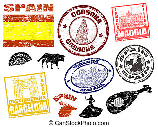 Stamps with Spain - Set of grunge stamps with Spain, vector...