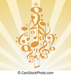 Musical Christmas tree - illustration of a Christmas tree...