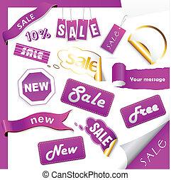 Set of purple sale tags.