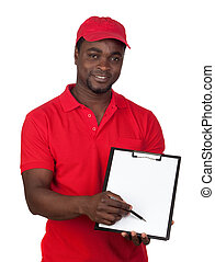 Worker courier with red uniform isolated on a over white...