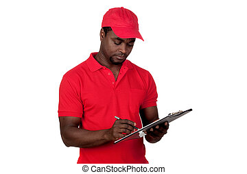 Worker courier with red uniform