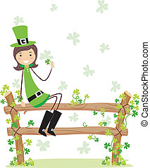 St Patrick Girl - Illustration of a Girl Wearing a St...