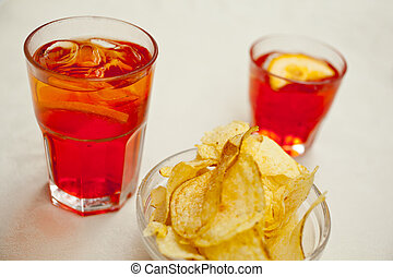Spritz and potato chips - Spritz drink and potato chips