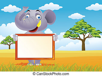 Elephant and blank sign - Vector illustration of elephant...