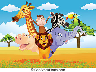Animal carton - vector illustration of animal cartoon