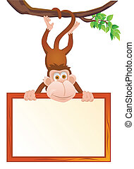 Funny monkey with blank sign - Vector illustration of funny...